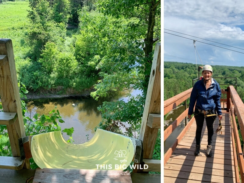 Left: View from the top of a zipline over Sand Creek with a yellow slide to slide down as you leave the platform. Right: Me with my harness on standing at the top of the zipline platform.
