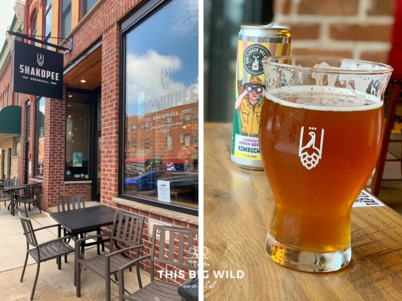 Left: Street view of Shakopee Brewhall on the main street in downtown Shakopee. It's a brick building with black tables along the sidewalk. Right: A closeup of a pint of beer and a can of kombucha behind it inside Shakopee Brewhall.