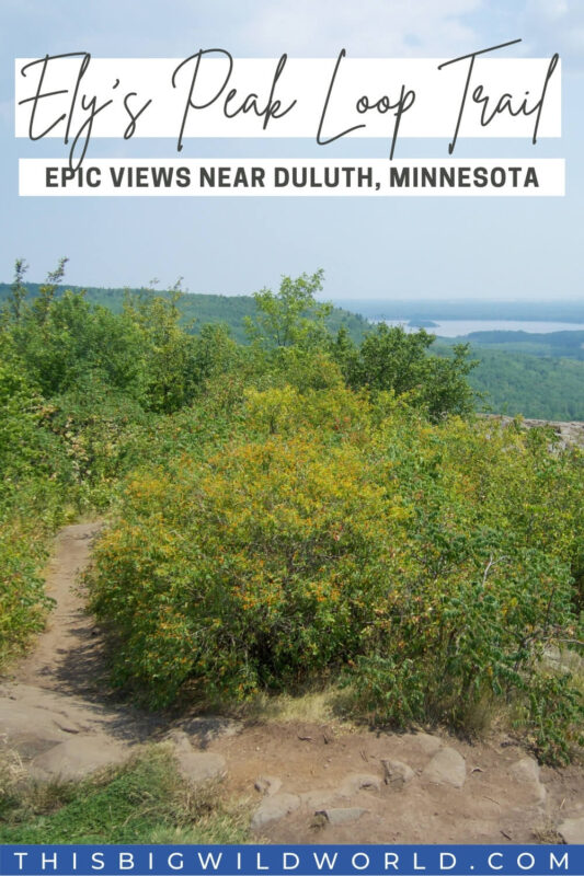 Text: Ely's Peak Loop Trail, epic views near Duluth, Minnesota Image: 360 degree view of lush green vegetation with water off in the distance near the horizon.