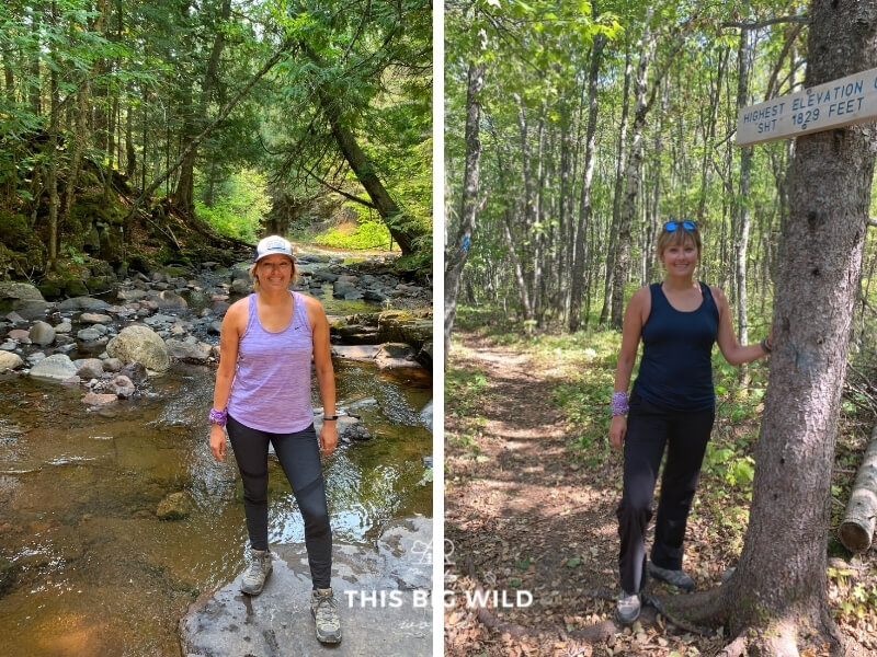 Left: Woman hiking in purple tank top, black leggings and hiking boots with a hat on.  Right: Same woman hiking in a blue tank top, black pants and hiking boots with sunglasses. Two different outfits for backpacking the Superior Hiking Trail.